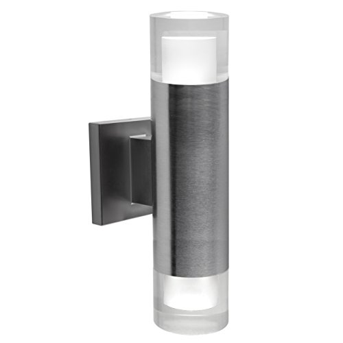 Bazz Luvia LED Outdoor Wall Fixture, Rust Proof, Energy Efficient, Water Resistant, Bulbs Included 13-in Stainless Steel