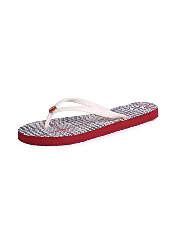 Tory Burch Printed PVC Thin Flip Flop Sandals In New Ivory Cord Plaid Size - Tory Size Burch 5