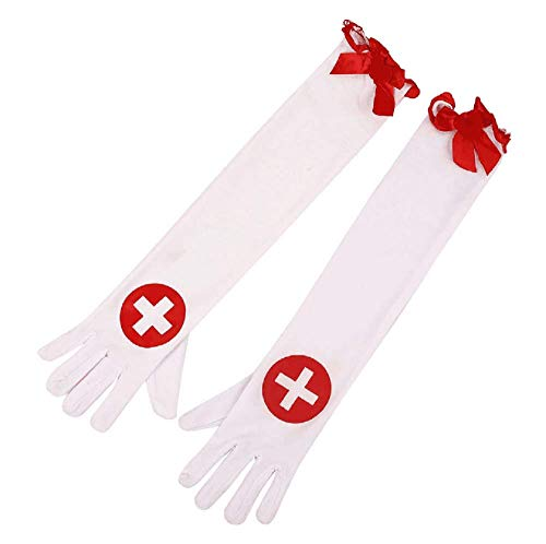Pair of Halloween Nurse Bloody Gloves Cross Gloves Long Gloves Fancy Dress Cosplay Decors