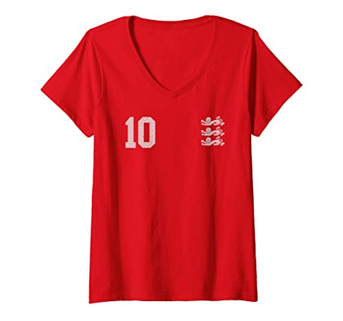 Womens England for Football Soccer Fans V-Neck T-Shirt