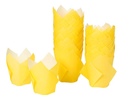 Tulip Cupcake Liners - 100-Pack Medium Baking Cups, Muffin Wrappers, Perfect for Birthday Parties, Weddings, Baby Showers, Bakeries, Catering, Restaurants, Yellow -
