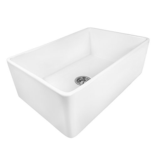 Ruvati 33 x 20 inch Fireclay Reversible Farmhouse Apron-Front Kitchen Sink Single Bowl - White - RVL2300WH