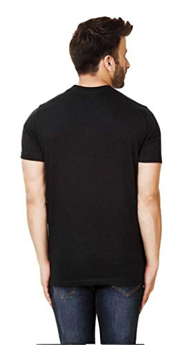 Pinaken Cotton Printed Half Sleeve Round Neck T-Shirts for Men Black
