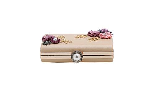 BABEYOND Caso duro del bolso del partido del embrague elegante rama de la flor de la tarde del embrague de las mujeres Caqui
