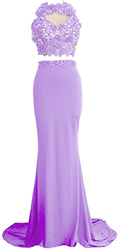 Evening 2 Macloth Prom Lavender Women Long Mermaid Piece Lace Formal Dress Gown Jersey 8knOw0XNP