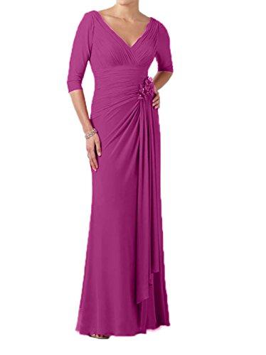 Partykleider Abendkleider Charmant Langarm mit Lang Chiffon Elegant Fuchsia Brautmutterkleider Damen AqIwrIX