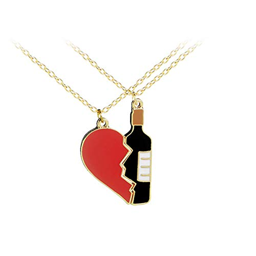 ink2055 1 Pair Fashion Broken Heart Wine Bottle Shape Brooch Pin Badge Necklace Couple Jewelry - Necklace]()