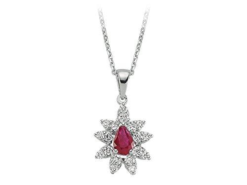 Pendentif Rubis et Diamants-Femme- or Blanc 204P0088