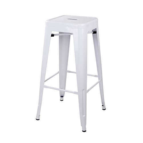 """GIA White 30"""" Metal Stool - Bar Height Square Backless - Tol"""
