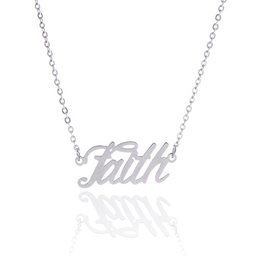 HUAN XUN Stainless Steel Words are Power Necklace Phrase Charm Jewelry, Faith -