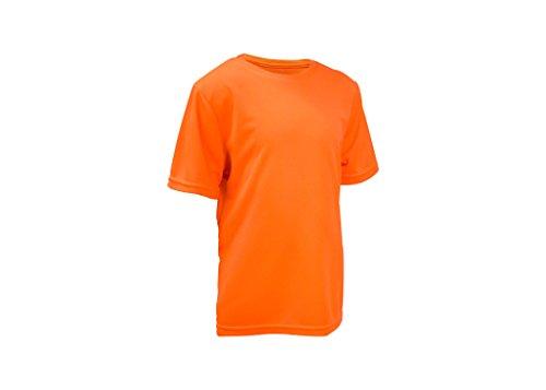 L2b Youth Athletic-Shirts, Crewneck, Short Sleeve, Quick Dry, No Fade, M Safety Orange (Wicking Kids Shirt)