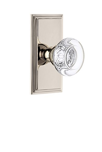 Grandeur 825237 Carre Plate Privacy with Bordeaux Crystal Knob in Polished Nickel, ()