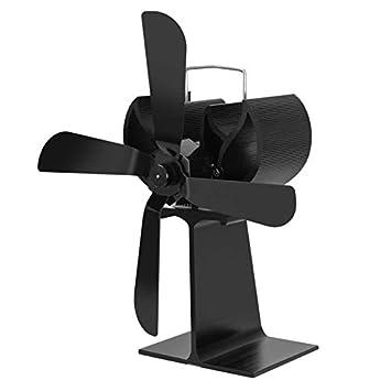 Pudincoco 4 Cuchillas Estufa de Chimenea de energía térmica Ventilador de Estufa de leña Alimentado por Calor (Negro): Amazon.es: Hogar