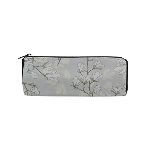 (Flowers and Buds Magnolia Students Super Large Capacity Barrel Pencil Case Pen Bag Cotton Pouch Holder Makeup Cosmetic Bag for Kids)