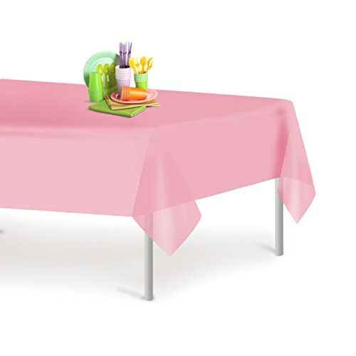 Pink 12 Pack Premium Disposable Plastic Tablecloth 54 Inch. x 108 Inch. Rectangle Table Cover By (Pink Disposable Tablecloths)