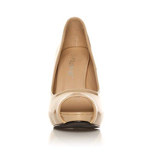 TIA - Chaussures à talons aiguilles - Plateforme - Bout ouvert - Nude - Vernis MqUeo