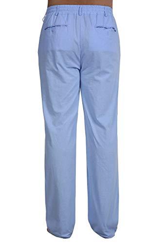 Himmelblau Lino Los Pantalones Basicas Elásticos Largos Color Sólido Con Ligeros De Pierna Suelta Elástico Hombres Verano gww5xqtCZ