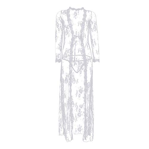 Women Sexy Lingerie Robe Long Lace Dress Sheer Gown See Through Kimono Nightgown Lingerie Set,White ()