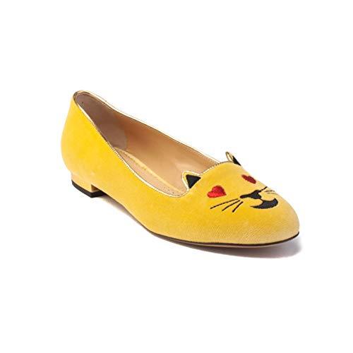 charlotte olympia Women's 'Flirty Kitty' Velvet Ballerina Flat Yellow