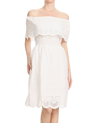 Anna-Kaci Womens Casual Cotton Off Shoulder Ruffle Short Summer Sun Dress, White, (Embroidered Eyelet Skirt)