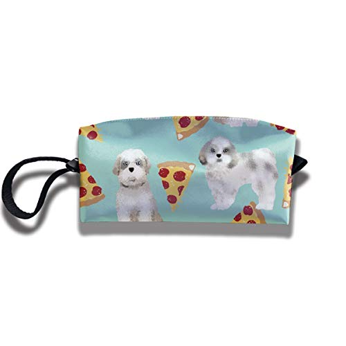 Yitlon8 Shih Tzu Dog Funny Pizza Coin Pouch Pen Holder Clutch Wristlet Wallets Purse Portable Storage Case Cosmetic Bags Zipper