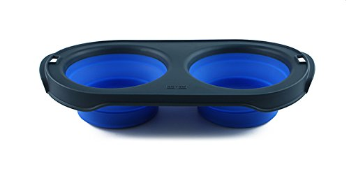 (Dexas Popware for Pets Double Bowl Collapsible Travel Feeder, 2.5 Cup Capacity, Blue)