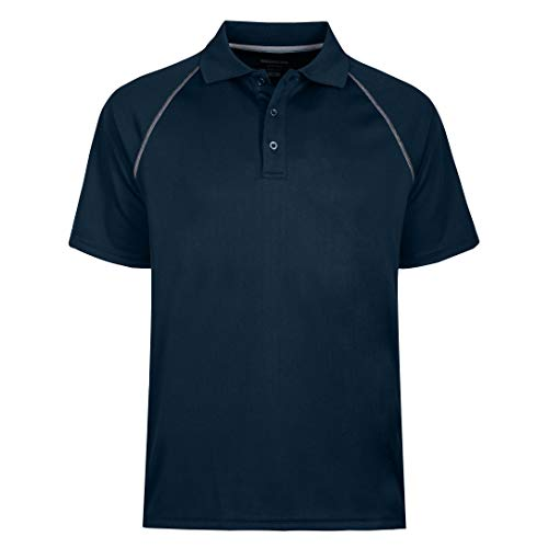 Men's Short Sleeve Moisture Wicking Performance Golf Polo Shirt, Side Blocked, Tall Sizes: M-6XL (L, Navy Blue)