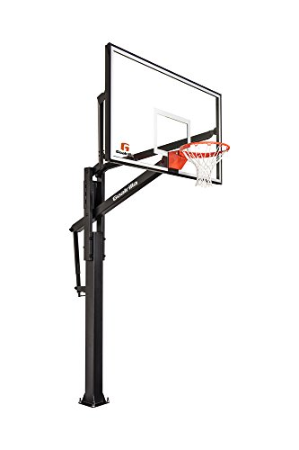 (Goalrilla FT72 Basketball Hoop with Tempered Glass Backboard, Black Anodized Frame, and In-ground Anchor System)