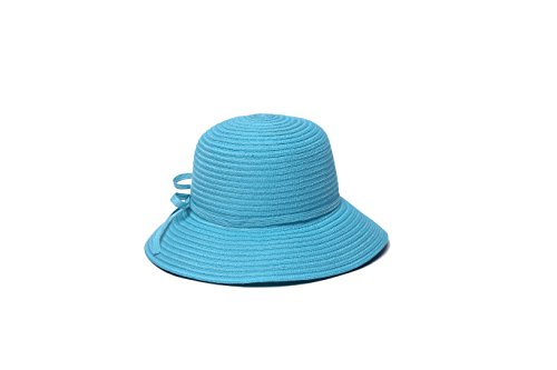 physician-endorsed-womens-mae-fold-roll-tie-packable-cloche-hat-turquoise-one-size