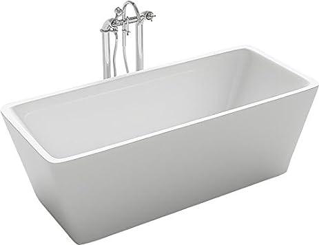 Kokss Garda 60u0026quot; Freestanding Modern Seamless White Acrylic Bathtub