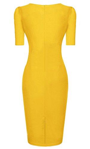Wenseny Mujer Manga Corta PGA El Vestido Del Lápiz Vestido De Noche Amarillo