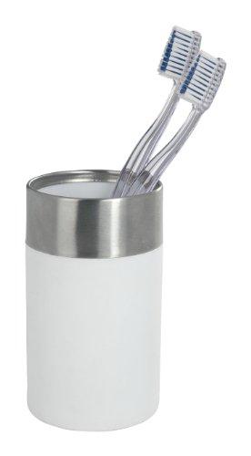 WENKO 19970100 Zahnputzbecher Creta White - Zahnbürstenhalter für Zahnbürste und Zahnpasta, Soft-Touch, Polystyrol, 7 x 11.1 x 7 cm, Weiß