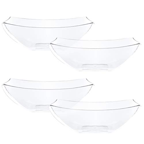Plasticpro Disposable 32 ounce Square Serving Bowls, Party Snack or Salad Bowl, Medium, Plastic Crystal Clear Pack of 4