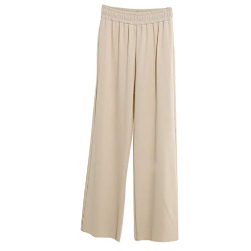 JOFOW Wide Leg Pants Womens Solid Loose Swing High Waist Long Workwear Straight Slim Elegant Casual Soft Pajamas Trousers (M,Beige)