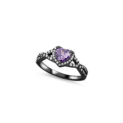 Halo Infinity Shank Heart Promise Ring Simulated Amethyst Round Cubic Zirconia Black Tone 925 Sterling Silver, Size - 8