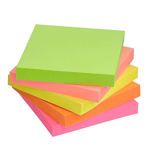 Sticky Note Pads Easy Post Self-Stick Notes 10 Pads/Pack 100 Sheets/Pad 3 x 3 Inches 5 Bright Colors
