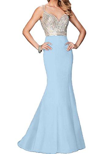 Spaghetti Steine Blau Ivydressing Ausschnitt Hochwertig Partykleid Damen Mermaid V Abendkleid Festkleid Promkleid PRRxXOITwq