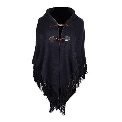 Iristide Women's Shawl Loose Cloak Poncho With Stylish Trumpet Button, Double Tassel V-neck Angle Buckle Pullover Wrap Warm Thickening (black)