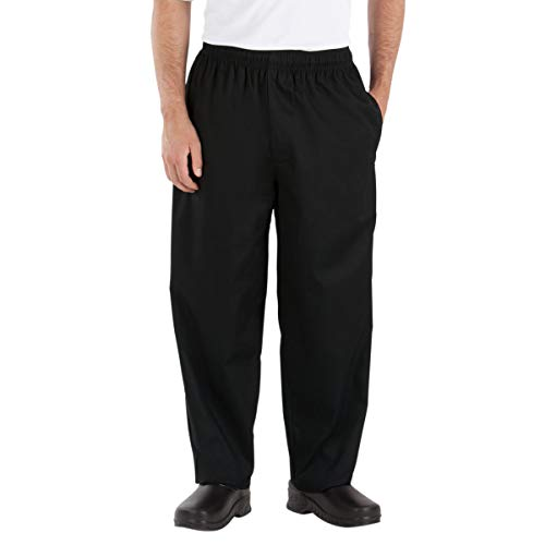 Happy Chef Poly Cotton Classic Baggy Pants, Large, Black