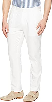 Calvin Klein Mens Linen Tapered Carrot Fit Pleated Pants
