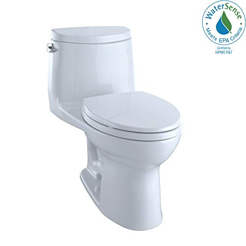 Toto MS604114CEFG#01 UltraMax II One-Piece Elongated 1.28 GPF Universal Height Toilet with CEFIONTECT, Cotton White,
