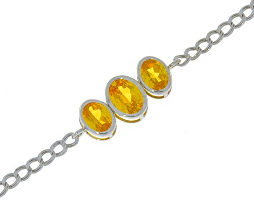 Simulated Yellow Citrine Oval Bezel Bracelet .925 Sterling Silver Rhodium Finish Oval Citrine Bezel