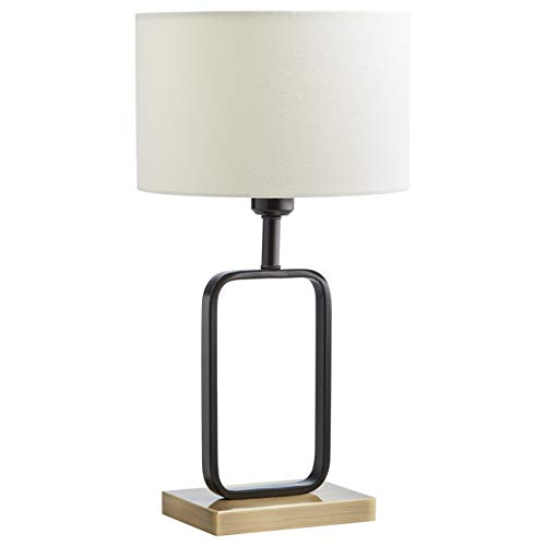 (Stone & Beam Modern Metal Frame Living Room Table Lamp With Light Bulb - 7.5 x 5 x 20.5 Inches, Black with White Shade)
