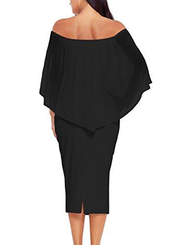 3dd16db9122c Sidefeel Women Off The Shoulder Layered Ruffled Bodycon Midi Party Dress  Small Black