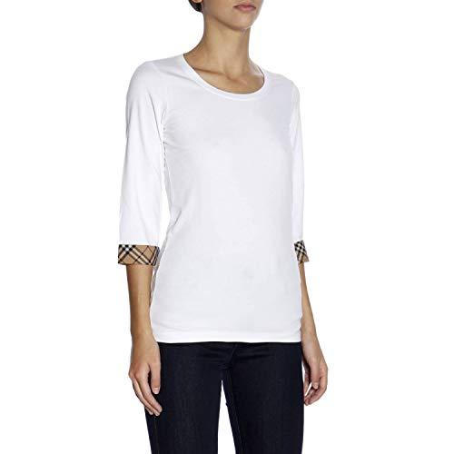 T Burberry Blanc Coton 8002950 Femme shirt rqIzgwq8n