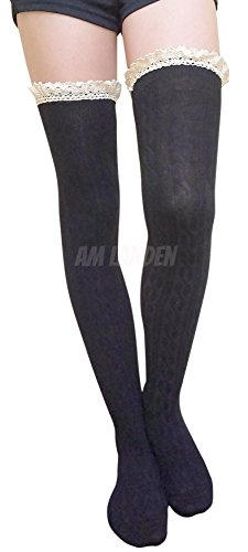 31fde3b13 AM Landen Gothic Lolita Thigh High Socks Over Knee Socks Women Lace Sexy  Stockings