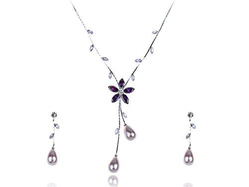 Alilang Womens Silvery Tone Teardrop Faux Pearl Floral Flower Necklace Earrings Set