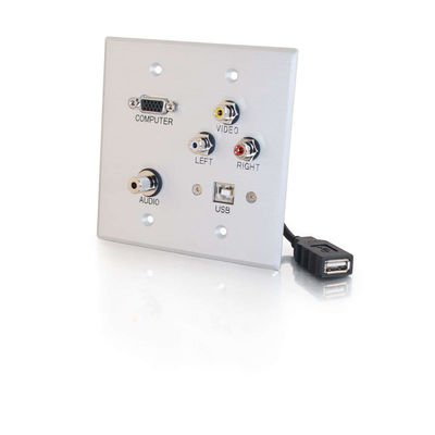 Cables To Go Hd15 Wall Plate - Double Gang HD15 + 3.5mm + RCA A/V + USB Wall Plate - Brushed Aluminum-by-Cables To Go