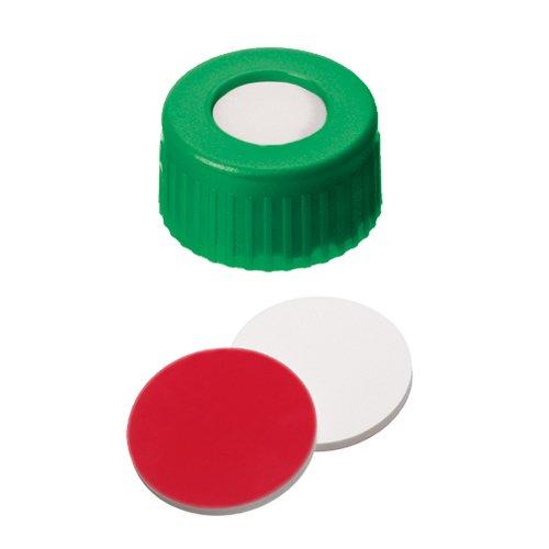 ND9 Short Thread Screw Caps (green) with Septa Silicone/PTFE, pk.100 BGB Analytik