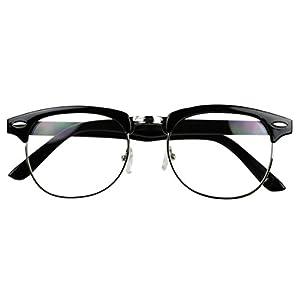 Basik Eyewear - Classic Half Frame Clear Lens Vintage Clubmaster Retro Eye Glasses (Black w/ Silver Trim, 137)